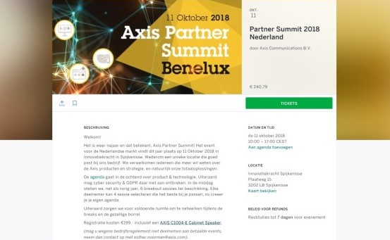 Agenda: Axis Partner Summit op 11 oktober
